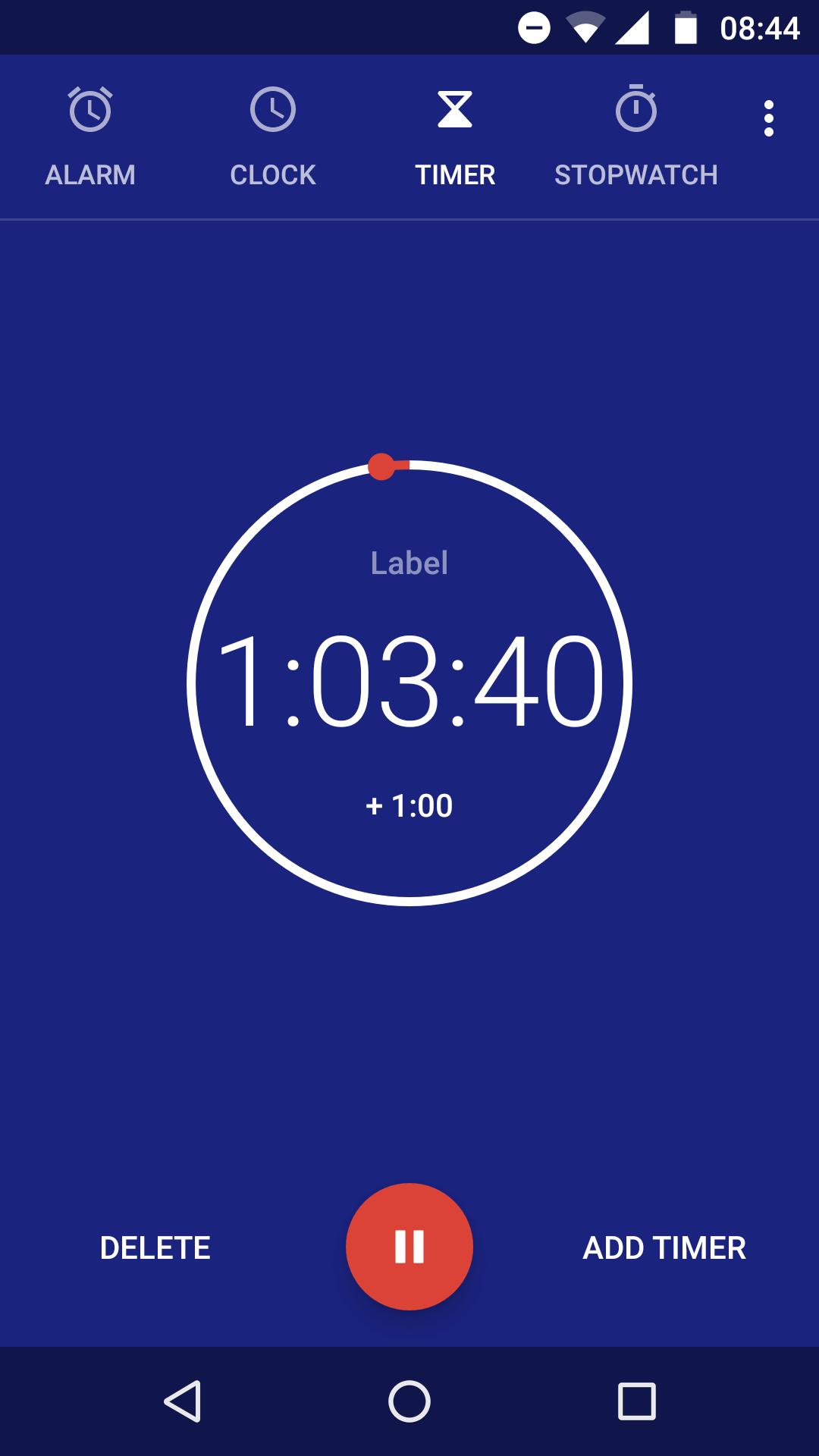 Aplicativo padrão de timer no Android