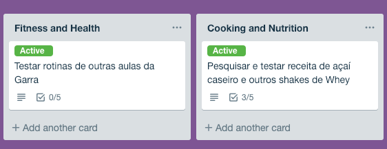 Listas de projetos Fitness no Trello